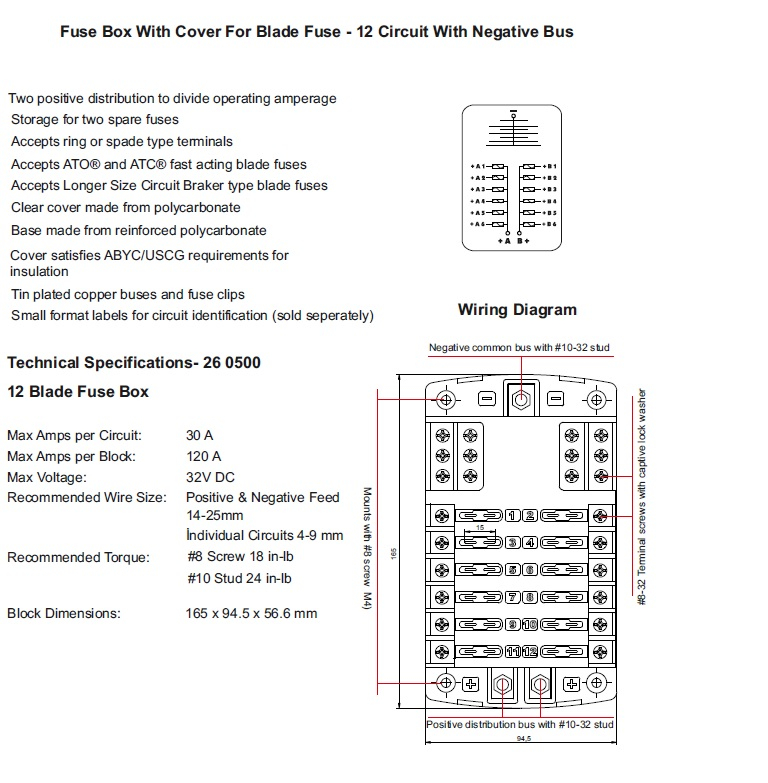 12way power distribution fusebox with twin positive busbars and neg 2000 ford focus fuse box diagram 12way power distribution fusebox with twin positive busbars and neg bus alt fh5026b